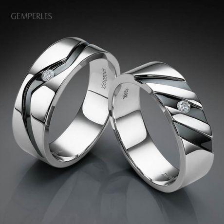 Bague anneau originale Homme en or blanc - Diamant demi-clos serti