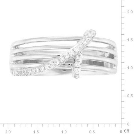 Bague 4 anneaux liés - Or blanc - Diamants sertis grains