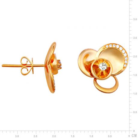 Boucles oreilles clous or jaune - Boucle Arc diamanté serti diamants