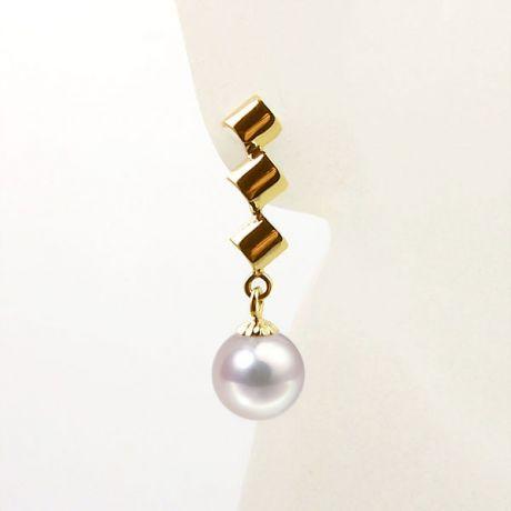 Pendants oreilles or jaune - Boucles oreille perles Akoya - 7/7.5mm