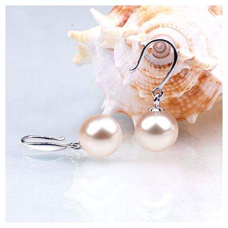 Crochets d'oreilles en or blanc - Perles de culture blanches