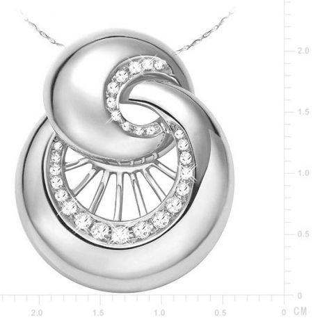 Pendentif en forme de coquillage - Métal or blanc 750/1000 - Diamants