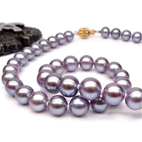 Collier perles lavandes - Perle culture eau douce - 7.5/8mm