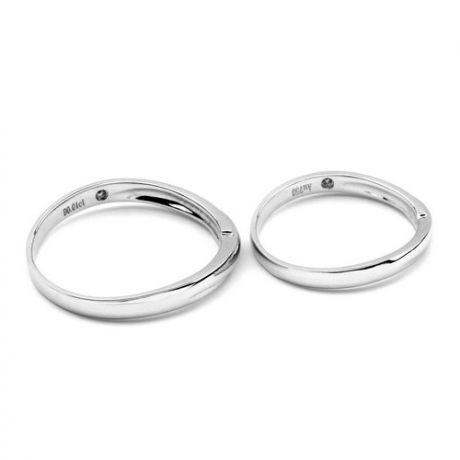 Fede Donna - Oro bianco 2.20gr - Diamante 0.008ct