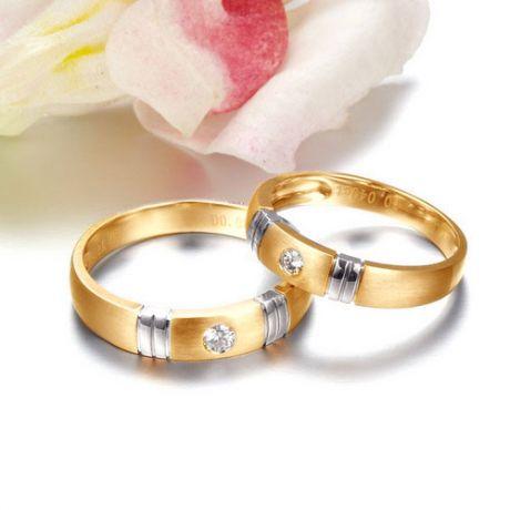 Alliance deux ors - Alliance diamant or jaune et blanc - Homme