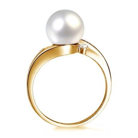 Anello stile donna - Perla di coltura bianca - Oro giallo