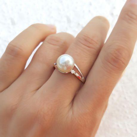 Anello stile donna - Perla di coltura acqua dolce bianca - Diamanti
