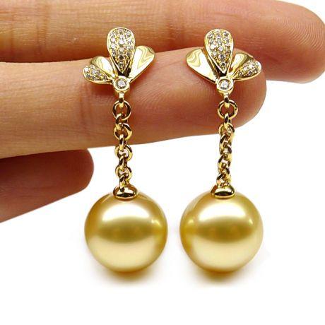 Boucles oreilles perles Australie or jaune, diamants - Jardin d'Eden