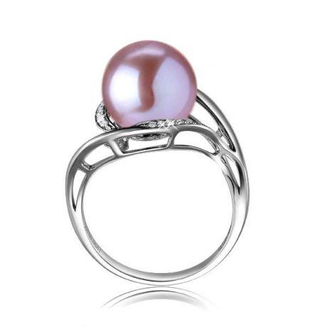 Bague femme perle - Or blanc, diamants - Perle de culture lavande