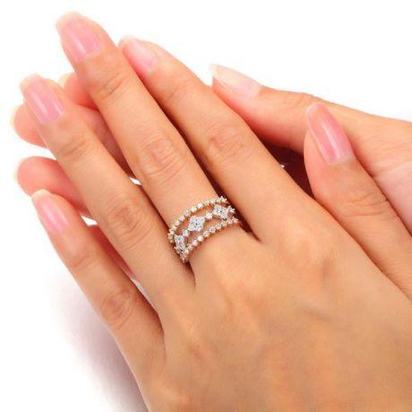 Bague 3 anneaux or jaune, blanc et rose. Myriade diamants   Classic Three Light