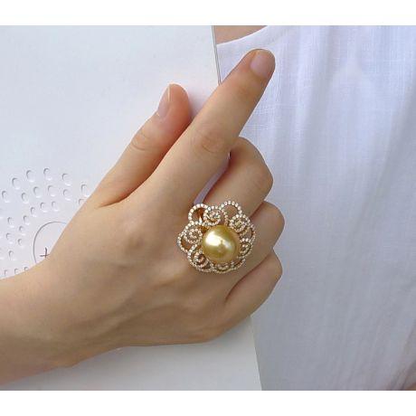 Anello Fiore Arabesco. Oro giallo, Diamanti e Perla dorata