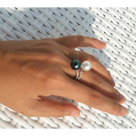 Bague Toi et Moi - Or blanc - Perles des mers du sud