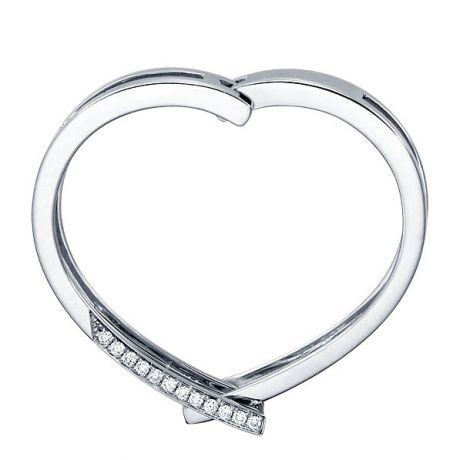 Bague anneau d'exception. Pendentif or blanc diamants forme cœur   Exception