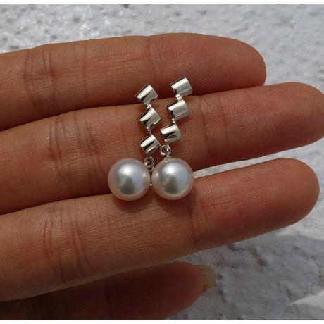 Boucles d'oreille pendantes or blanc - perles Akoya de culture Japon