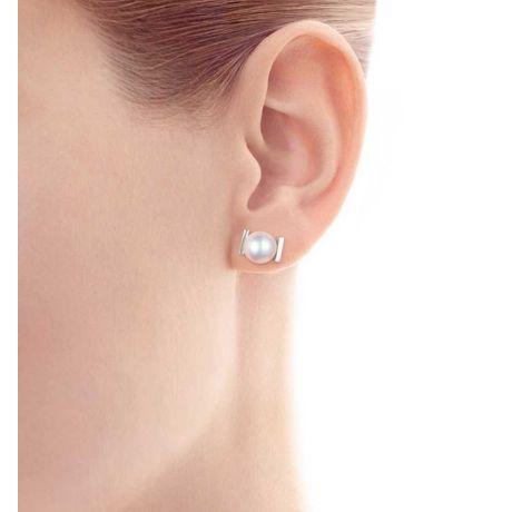 Boucles d'oreilles Carrées Or blanc et perles Akoya Japon