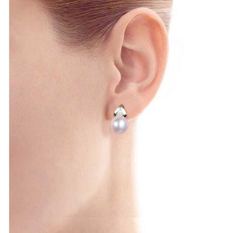 Boucles oreilles triangulaires. Perles Akoya Japon, Or blanc, Diamants