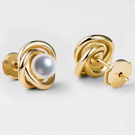 Boucles oreilles Chiyoko Or jaune. Perles Akoya Japon 6/6.5mm AAA
