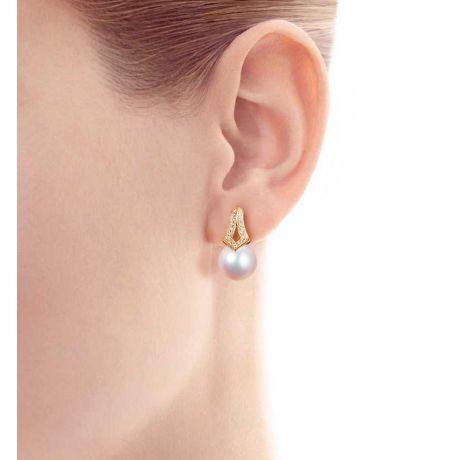 Orecchini perle Giappone. Pendenti Michiko in Oro giallo