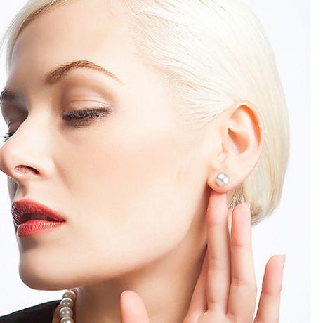 Clou oreille or blanc - Boucles perles de Chine - Perles 8/9mm