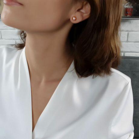 Boucles d'oreilles clous - Perles roses de Chine 8/9mm - Or blanc