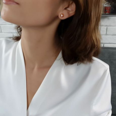 Boucle oreille perle culture - Perles eau douce roses 8/9mm - Or blanc