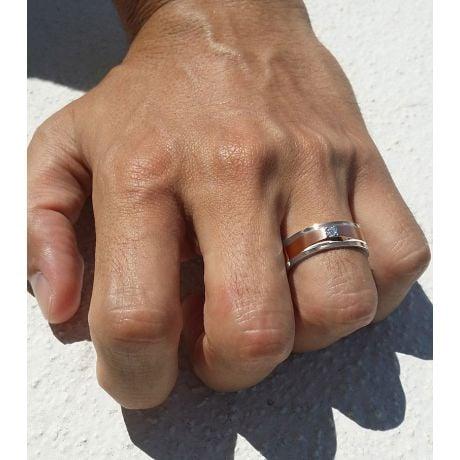 Bague Homme Or rose & blanc 18cts. Diamants 0.045ct   Richard