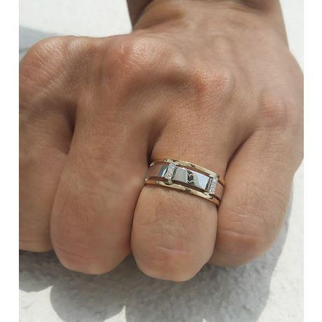 Bague or jaune et blanc Homme - 2 Ors 18cts, 6.50gr - 6 Diamants