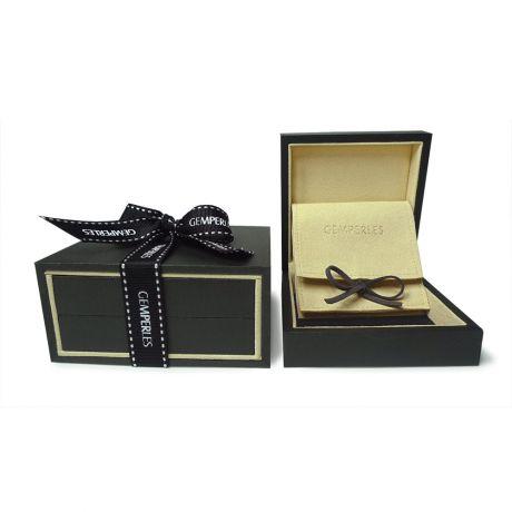 Pendentif ruban or blanc - Perle de Tahiti bronze - Diamants