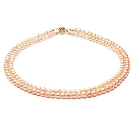 collier double rang perles roses - Perles de culture Chine - 5/5.5mm