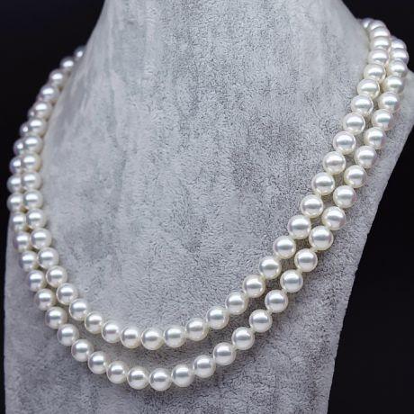 Collier 2 rangs ras de cou -  Collier double rang de perle Akoya - 6.5/7mm, AAA