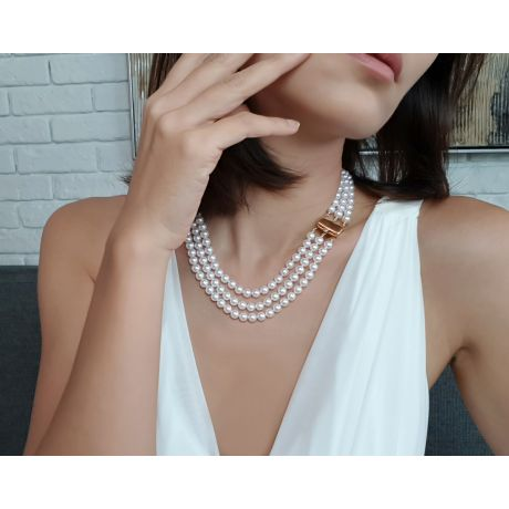 Collier triple perles Akoya blanches - 6.5/7mm - AAA
