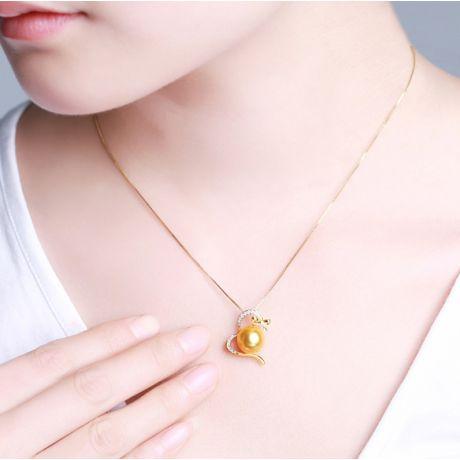 Pendentif noeud gansé - Or jaune, perle d'Australie dorée. Diamants