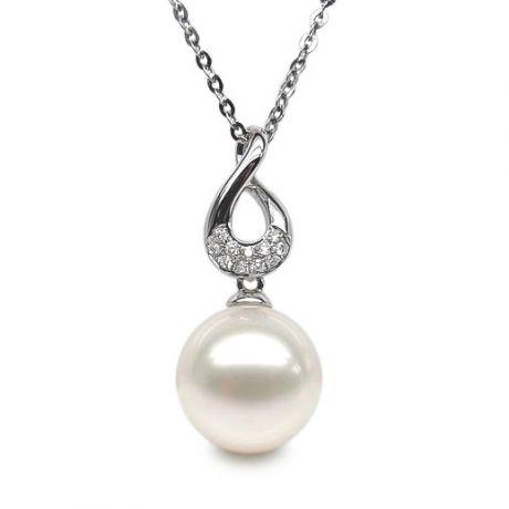 Pendentif twist or blanc - Perle de culture d'eau douce, diamants