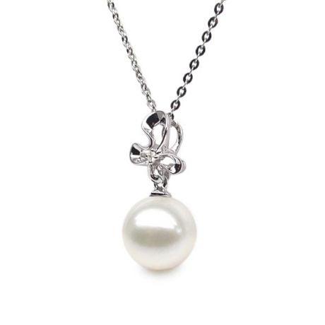 Pendentif perle fleur sauvage - 3 pétales en or blanc - Diamant