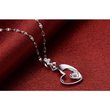 Pendentif Coeur de Rose - Diamants, or blanc