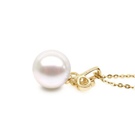 Pendentif brindille perle de culture - Or jaune, diamant serti clos