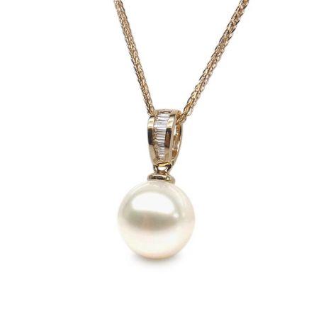 Pendentif perle diamants rails - Or jaune