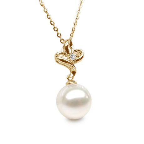 Pendentif fleur 3 pétales or jaune - Coeur diamant et perle blanche