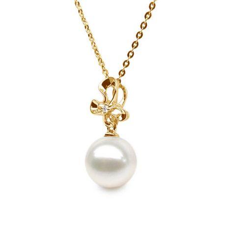 Pendentif fleur sauvage or jaune - Perle d'eau douce et diamant