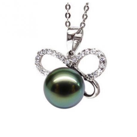 Pendentif papillon - Perle de Tahiti bronze foncée - Or blanc, diamants