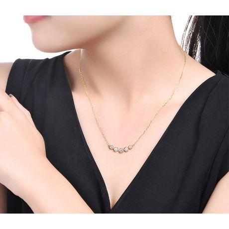 Collier pendentif Or jaune. 5 diamants sertis clos 0.26ct | Gemperles