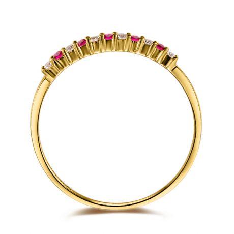 Bague rubis anneau, diamants - Or jaune 18 carats