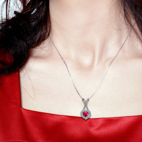 Pendentif coeur or blanc - Rubis et diamants en pendeloque