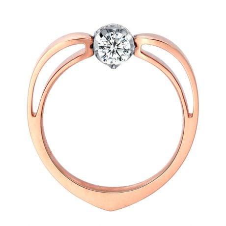 Solitaire Anneau Bombé - Or Blanc & Rose - Couronne Diamants | Gemperles
