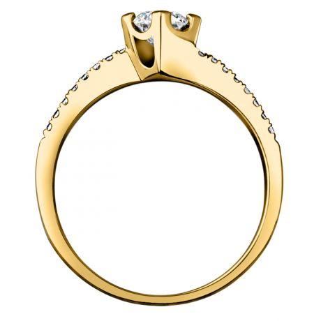 Bague Solitaire Bordure Diamantée Périclès - Or Jaune 18 carats | Gemperles