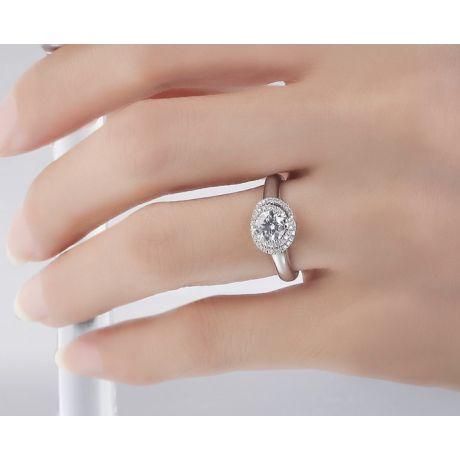 Anello di Fidanzamento Grazioso - Oro Bianco 18kt & Spirale Diamanti | Grazioso