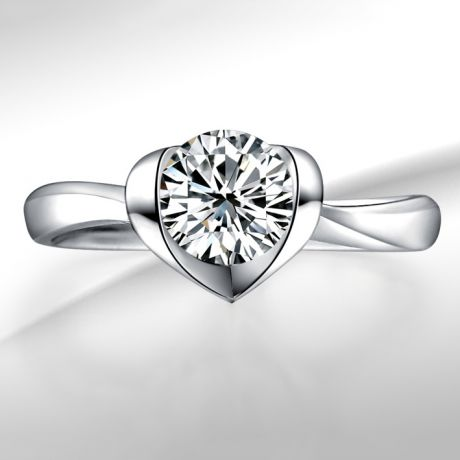 Bague Solitaire Coeur Majestueux - Or Blanc & Diamant | Gemperles
