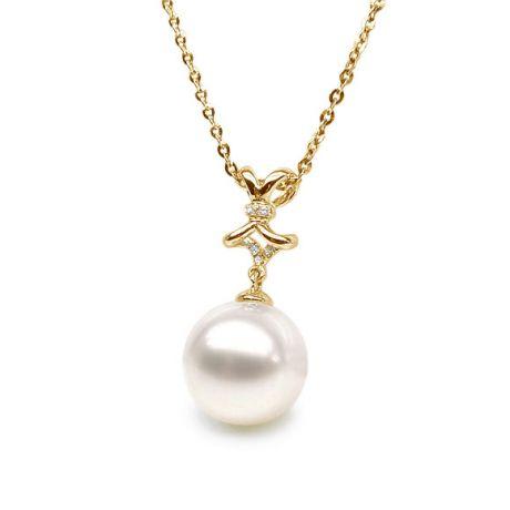 Pendentif ganse en or jaune et diamants - Perle de culture blanche