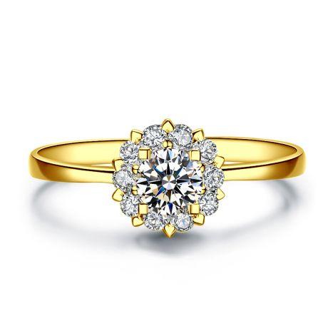 Anello Solitario Composto Cuore Screziato - Oro Giallo & Diamanti | Gemperles