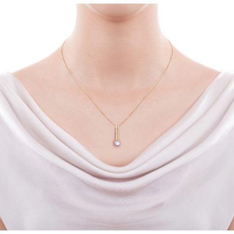 Pendentif perle du Japon. Or jaune, diamant - Hatsune Miku
